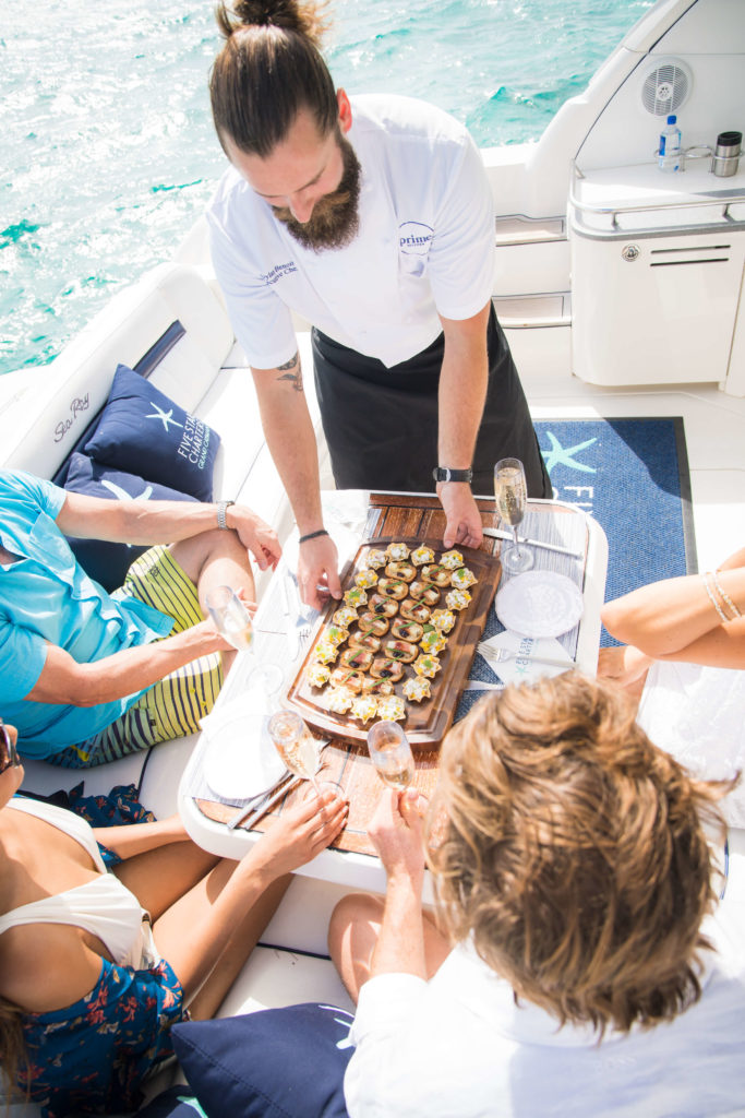 Enjoy Gourmet Hors d'Oeuvres and Delicious Champagne on Every Cruise